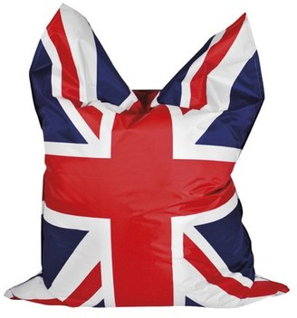 Gouchee Home Bigbag Union Jack Collection Contemporary Oversized Polyester Upholstered UK Flag Design Bean Bag Chair, Red/White/Blue