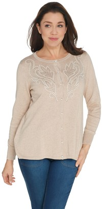 Bob Mackie Scroll Design Pearl Embellished Cardigan