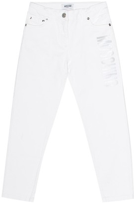 MOSCHINO BAMBINO Printed stretch cotton skinny jeans