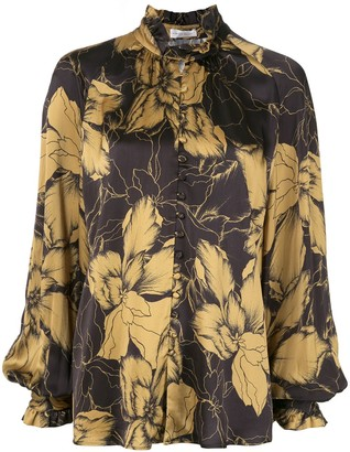 Rebecca Vallance Roswell floral-print satin blouse