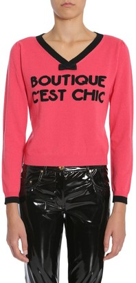 Boutique Moschino V-Neck Bow Detail Sweater
