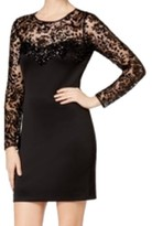 GUESS Black Women's Size 14 Sequin Long Sleeve Sheath Dress