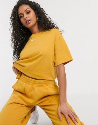 Nike mini swoosh boyfriend t-shirt in dark yellow