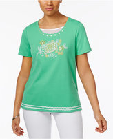 Alfred Dunner Bahama Bays Embroidered Beaded Top
