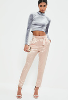 Missguided Pink Pearl Effect Satin Buckle Detail Trousers
