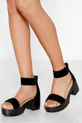 Nasty Gal Womens Faux Suede Sandals with Block Heels - Black