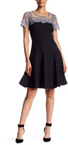Chetta B Crew Neck Lace Short Sleeve Fit and Flare Dress