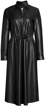 HUGO BOSS Daledy Vegan Leather Shirtdress