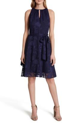 Tahari Burnout Floral Chiffon Dress