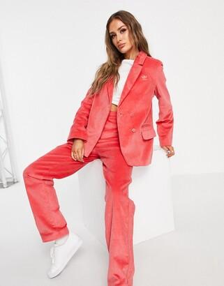 adidas 'Comfy Cords' corduroy blazer in pink