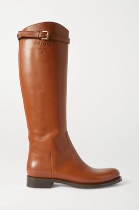Prada 30 Logo-embossed Leather Knee Boots - Tan