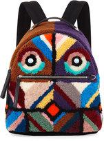 Fendi Monster Eyes Shearling Backpack, Black/Multi