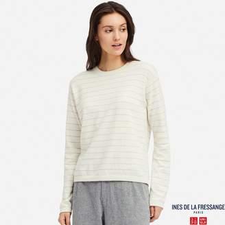 Uniqlo WOMEN IDLF Cotton Cashmere Striped Crew Neck Sweater
