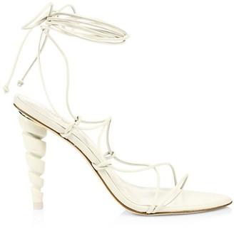 Cult Gaia Lexi Ankle-Wrap Leather Sandals