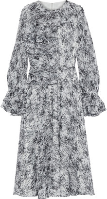 Mikael Aghal Ruffled Printed Chiffon Midi Dress