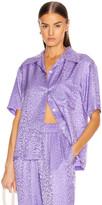 Les Rêveries Tropical Vintage Surf Shirt in Purple Leopard Jacquard | FWRD