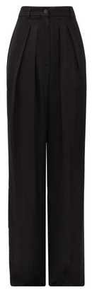 Rochas Pleated-front Wide-leg Crepe Trousers - Womens - Black