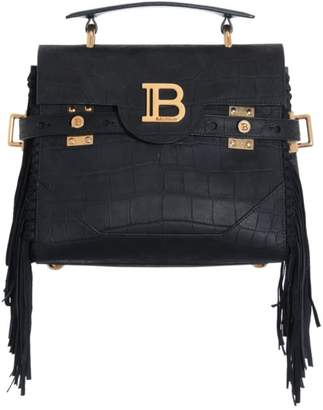 Balmain B-Buzz Fringe Croc-Embossed Leather Top Handle Bag