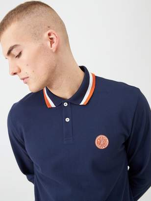 Pretty Green Long Sleeved Tipped Collar Polo Shirt - Navy