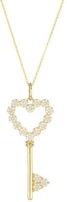Nina Gilin 14K Yellow Gold & Diamond Heart Key Pendant Necklace