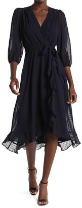 Gabby Skye Clip Dot Chiffon Faux Wrap Midi Dress