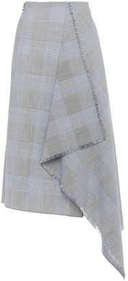 Roland Mouret Draped Checked Wool And Mohair-blend Skirt