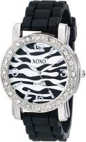 XOXO Women's XO8058 Rhinestones Accent Black Silicone Strap Watch