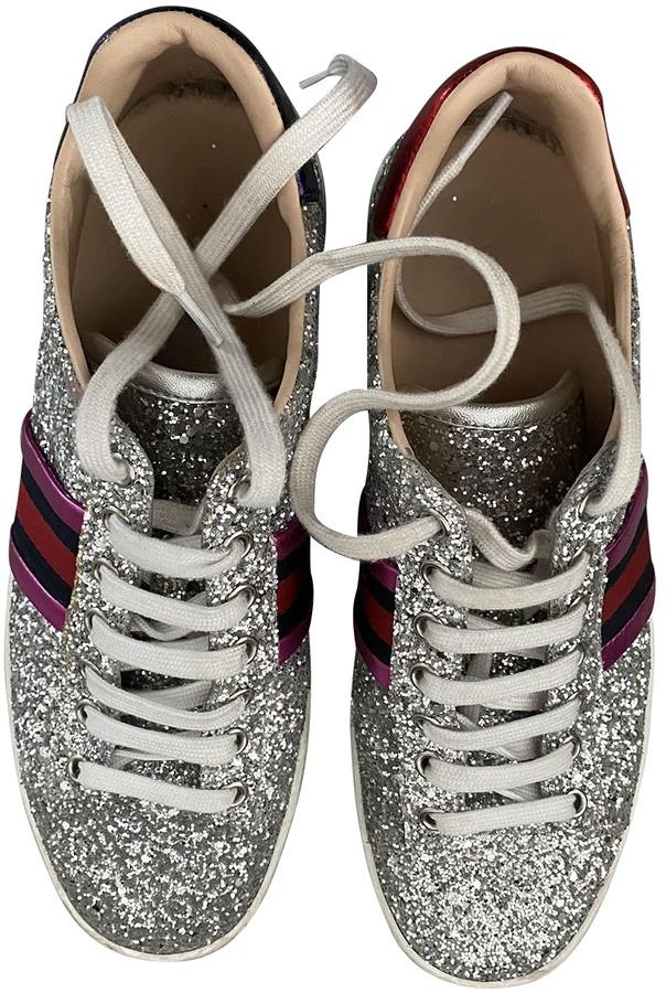 Gucci Ace Silver Glitter Trainers