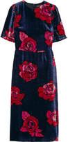 Markus Lupfer Freya Floral-print Velvet Midi Dress - Navy