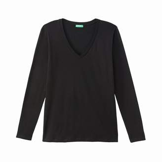 Benetton Cotton V-Neck T-Shirt with Long Sleeves