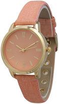 OLIVIA PRATT Olivia Pratt Womens Gold-Tone Coral Denim Faux Leather Strap Watch 14086