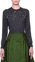 Jil Sander Long-Sleeve Embellished Sweater, Charcoal