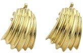 Tiffany & Co. 14K Yellow Gold Shell Design Curved Hugge Clip On Earrings