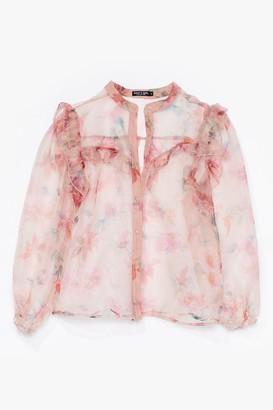 Nasty Gal Womens You Belong Sheer Floral Organza Blouse - Pink - S, Pink