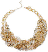 Thalia Sodi Gold-Tone Imitation Pearl and Crystal Torsade Collar Necklace, Only at Macy's