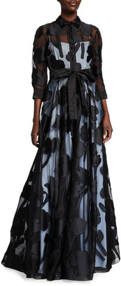 Carolina Herrera Floral Fil Coupe Trench Gown