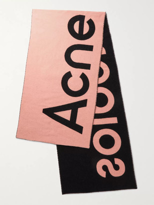 Acne Studios Reversible Logo-Jacquard Two-Tone Wool-Blend Scarf