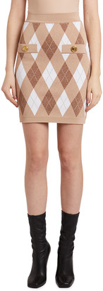 Balmain Argyle Jacquard High-Waist Midi Skirt