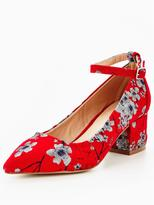 Very Kourtney Floral Tapestry Low Block Heel Shoe - Red