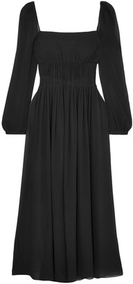 Stella McCartney Open-back Gathered Silk-georgette Maxi Dress