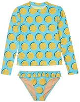 J.Crew Crewcuts By crewcuts by Long Sleeve Lemons Ruffle Bottoms Rashguard Set (Toddler/Little Kids/Big Kids) (Aqua/Yellow) Girl's Pajama Sets