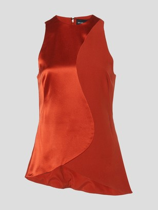 Brandon Maxwell Sleeveless Satin Silk Top