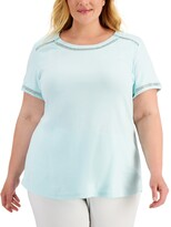Thumbnail for your product : Karen Scott Plus Size Crochet-Inset Top, Created for Macy's