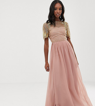 Virgos Lounge Tall sheer embellished flutter sleeve maxi dress in pink