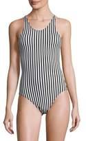 Norma Kamali Racer Mio Striped Bodysuit
