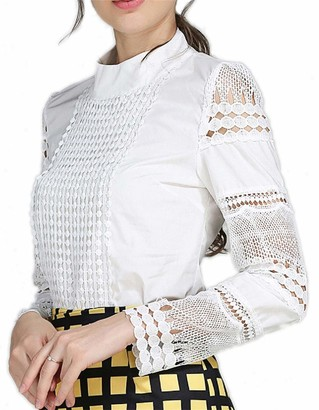 Smile Fish Women Hollow Out Back Zipper Lace Long Sleeve Elagent Blouse(3XL-) White