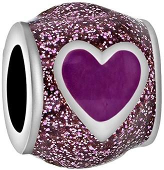 Tuscany Charms Sterling Silver Purple Enamel Heart Bead