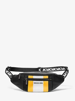 Michael Kors Medium Striped Pebbled Leather Belt Bag