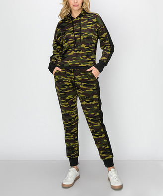 Kimberly C Women's Casual Pants Army - Army Green Camo Active Crop Hoodie & Joggers - Women