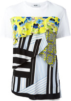 MSGM multi-textile T-shirt - women - Cotton - L